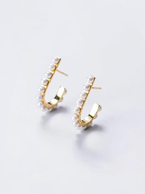 Rosh 925 Sterling Silver Imitation Pearl Geometric Minimalist Stud Earring 4