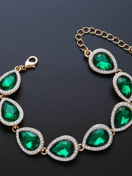 Golden green Brass Glass Stone Water Drop Luxury Bracelet
