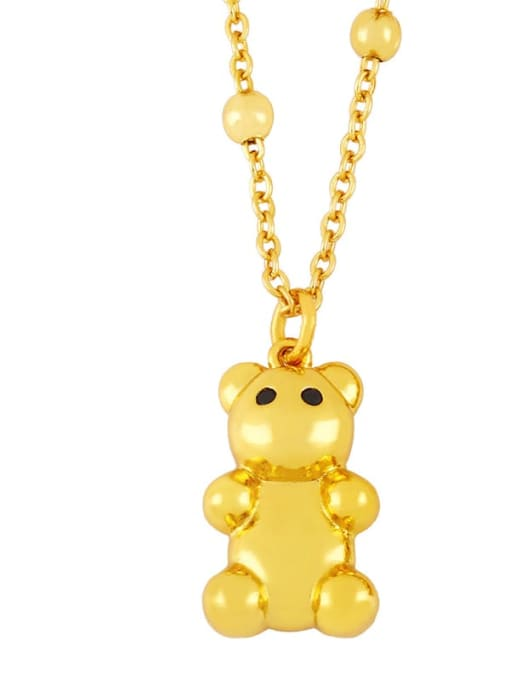 A Brass Cute Smooth Bear  Pendant Necklace