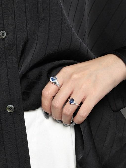 DAKA 925 Sterling Silver Glass Stone Irregular Vintage Band Ring 2