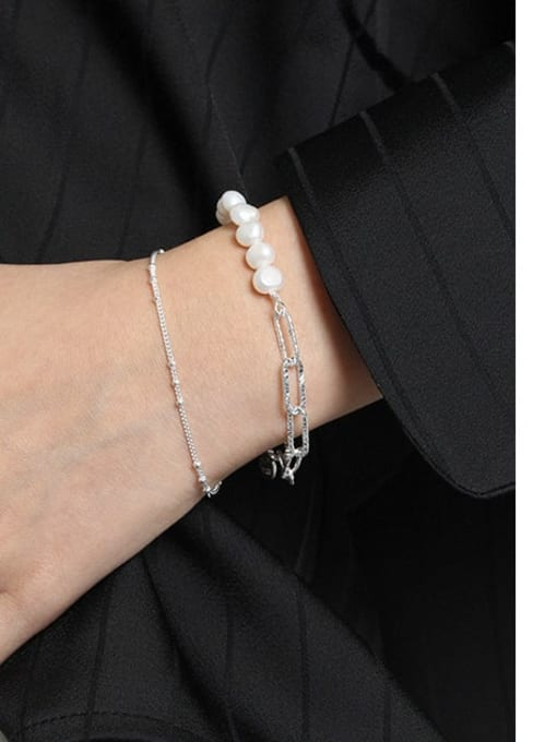 DAKA 925 Sterling Silver Irregular Minimalist Link Bracelet 2