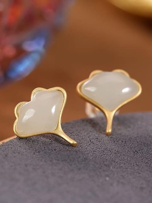 White jade (a pair) 925 Sterling Silver Jade Leaf Vintage Stud Earring