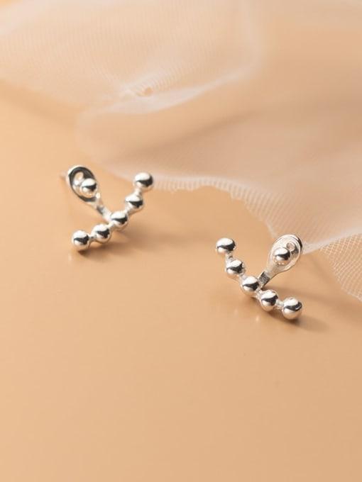 Rosh 925 Sterling Silver Bead Geometric Minimalist Stud Earring 1