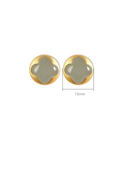 DEER 925 Sterling Silver Jade Round Vintage Stud Earring 2