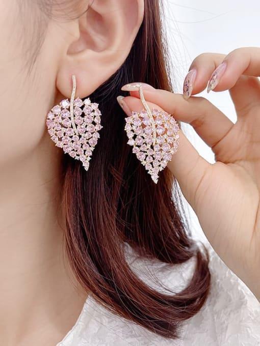 Luxu Brass Cubic Zirconia Leaf Bohemia Stud Earring 2