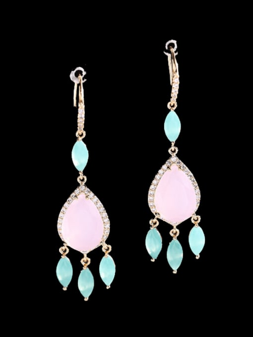 Pink Brass Cubic Zirconia Water Drop Trend Hook Earring