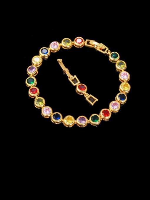 gold  Color Brass Cubic Zirconia Round Minimalist Bracelet