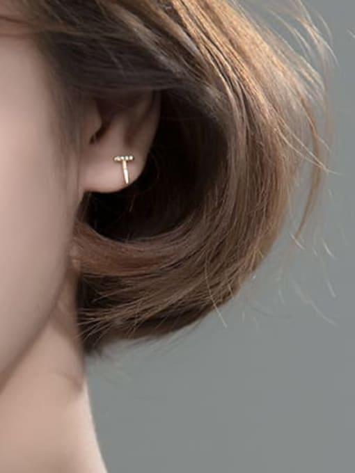 Rosh 925 Sterling Silver Rhinestone Irregular Cute Stud Earring 1