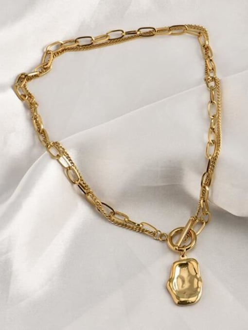 A TEEM Titanium Irregular Vintage Hollow Chain Necklace 2