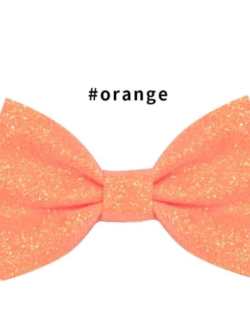 6 orange Alloy Fabric Cute Bowknot  Multi Color Hair Barrette
