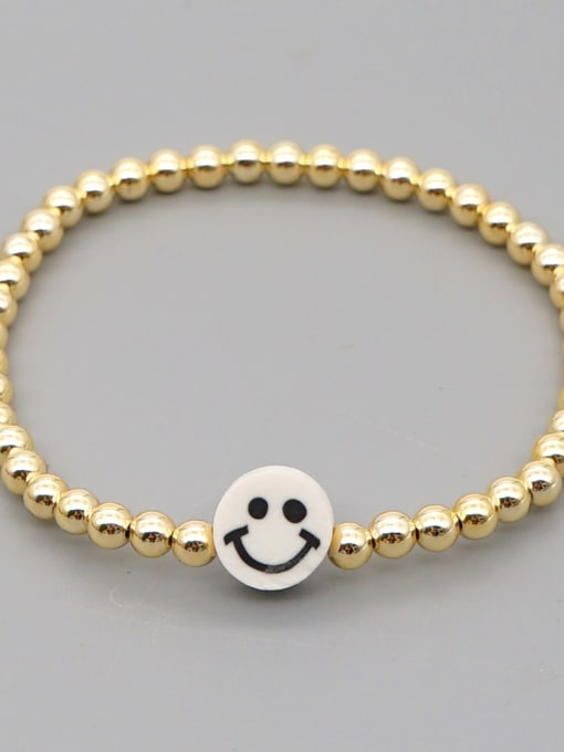 QT B200203D Stainless steel Polymer Clay Smiley Bohemia Beaded Bracelet