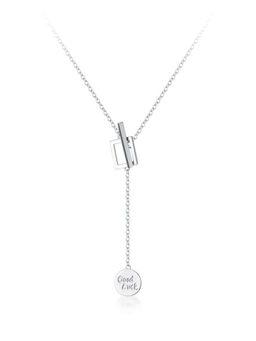 Rosh 925 Sterling Silver Minimalist  Letters Geometric tassel Lariat Necklace