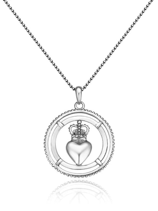 Boomer Cat 925 Sterling Silver Crown Minimalist Necklace