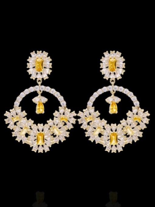 Luxu Brass Cubic Zirconia Flower Statement Drop Earring 0