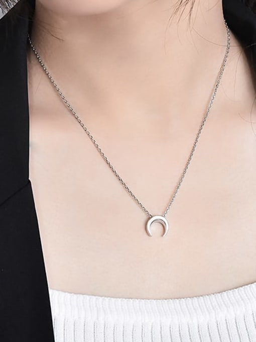 XBOX 925 Sterling Silver  Smooth Moon Minimalist Necklace 2