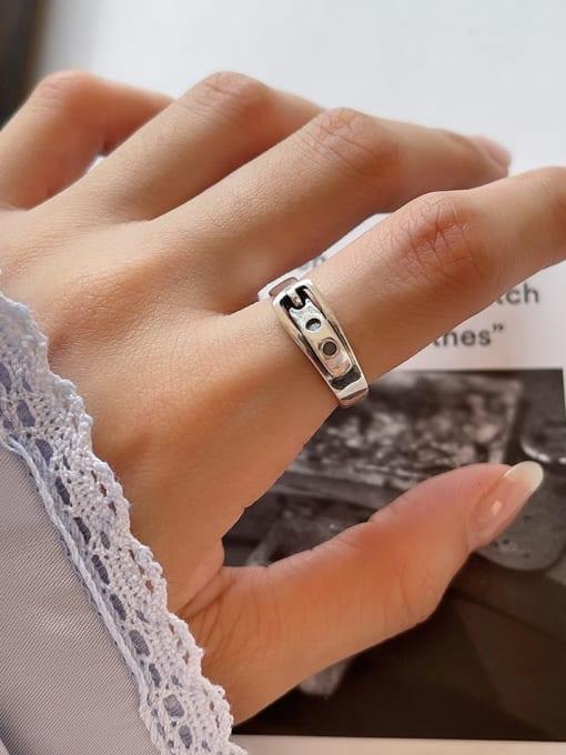 Belt head ring J22 2.7g 925 Sterling Silver Irregular Vintage Band Ring