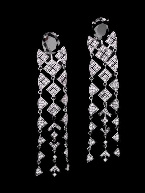 Luxu Brass Cubic Zirconia Tassel Vintage Drop Earring 2