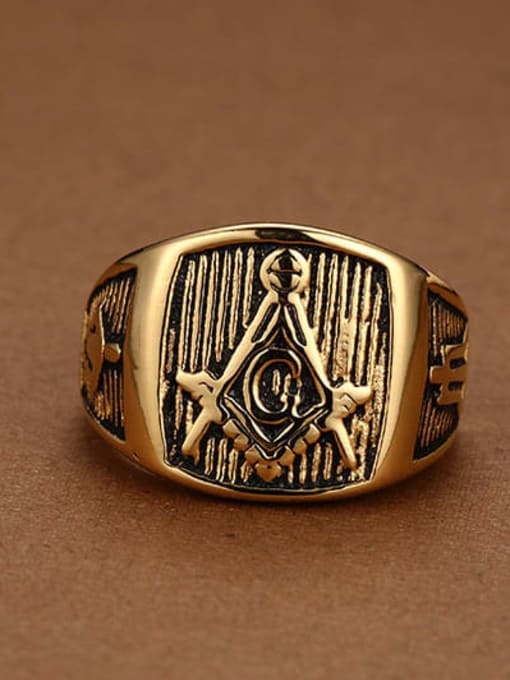 CONG Stainless steel Geometric Vintage Band Ring 2