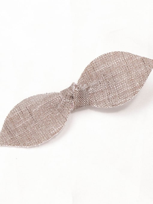 10 sandstone Brown linen small hairpin Alloy  Leather Cute Bowknot Multi Color Hair Barrette