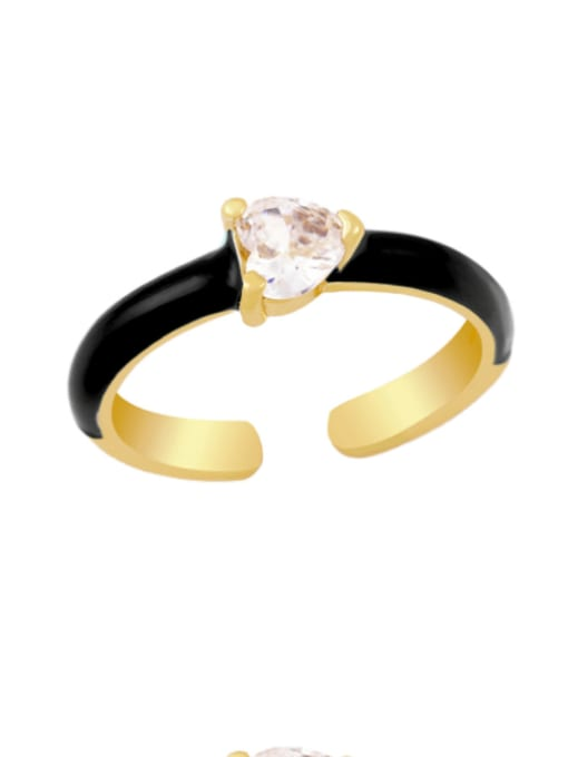 CC Brass Enamel Cubic Zirconia Heart Minimalist Band Ring 2