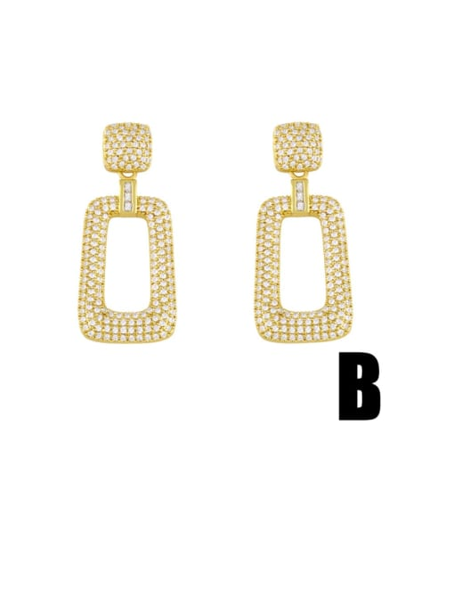 CC Brass Cubic Zirconia Geometric Minimalist Cluster Earring 1