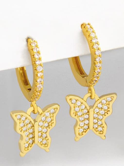 CC Brass Cubic Zirconia Water Drop Vintage Huggie Earring 1