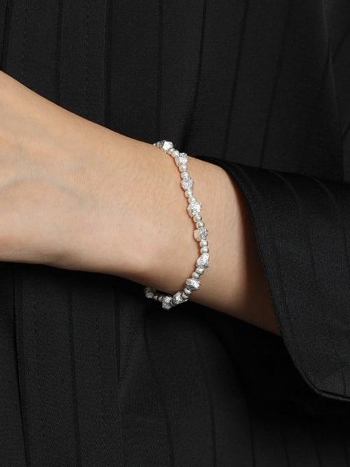 DAKA 925 Sterling Silver Geometric Vintage Beaded Bracelet 2