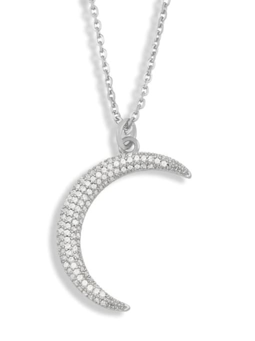 steel Bronze Cubic Zirconia Moon Minimalist Necklace