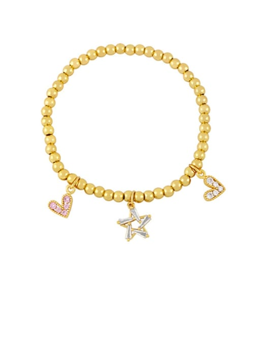 CC Brass Cubic Zirconia Ball Hip Hop Beaded Bracelet 0