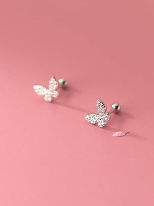 Rosh 925 Sterling Silver Cubic Zirconia Butterfly Minimalist Stud Earring 2