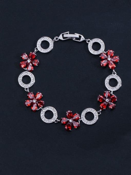 red Brass Cubic Zirconia Flower Luxury Bracelet