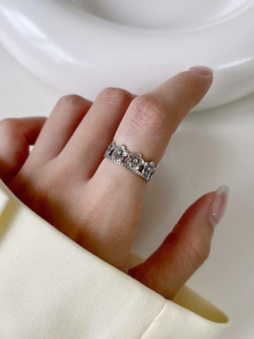 Chrysanthemum ring j135 2.5G 925 Sterling Silver Geometric Vintage Band Ring