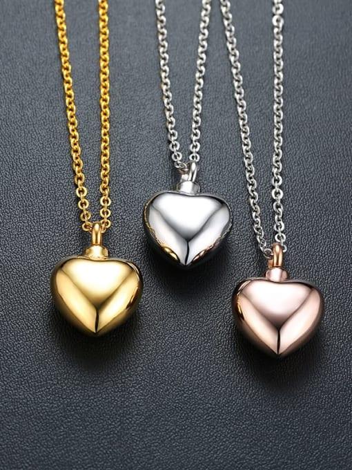 CONG Titanium Steel Smooth Heart Minimalist  Pendant Necklace 2