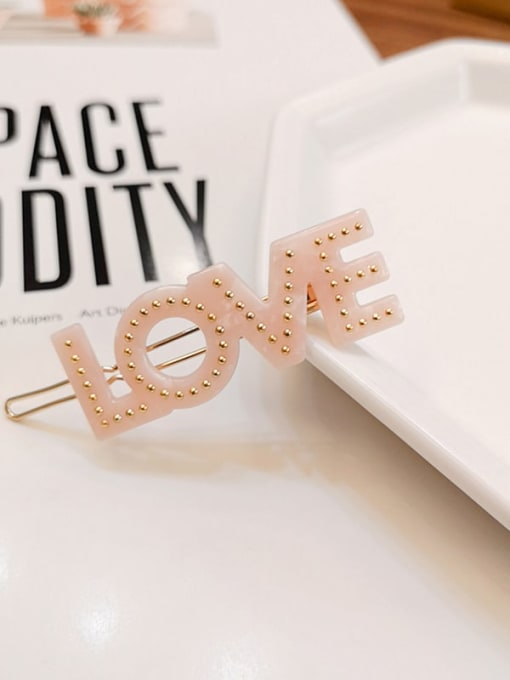 pink Alloy  Cellulose Acetate Minimalist Letter Hair Pin