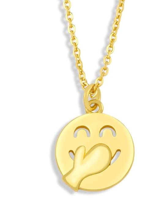 nku95 C Brass Enamel Geometric Hip Hop Necklace