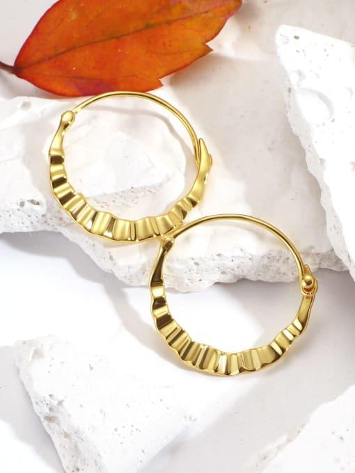 CHARME Brass Smooth Geometric Vintage Huggie Earring 1