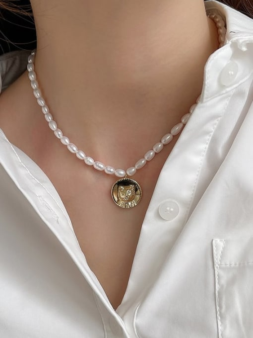 Boomer Cat 925 Sterling Silver Freshwater Pearl Geometric Vintage Necklace 2