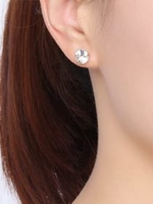 CONG Stainless steel Cubic Zirconia Minimalist Round  Earring and Necklace Set 3