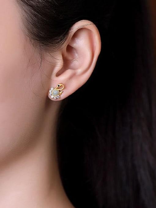DEER 925 Sterling Silver Jade Swan Cute Stud Earring 1