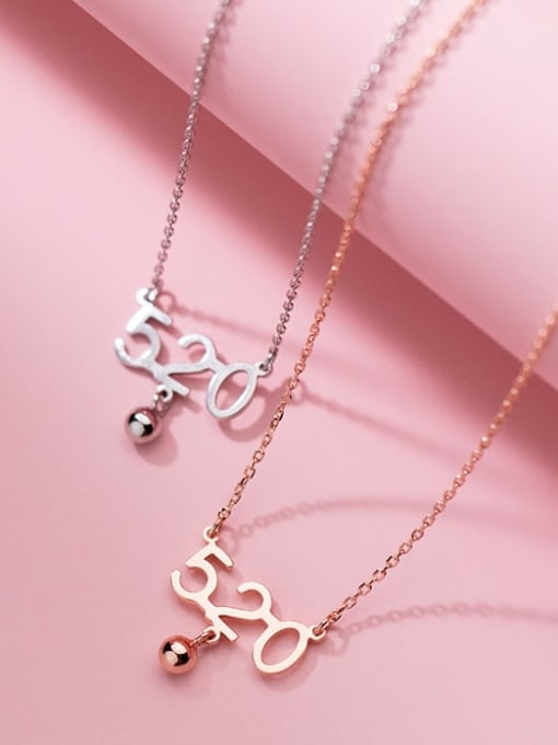 Rosh 925 Sterling Silver Number Minimalist Necklace 3