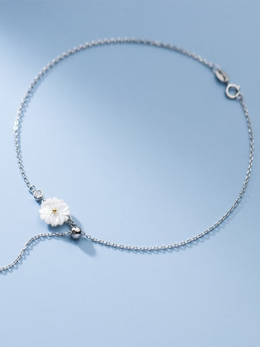 Rosh 925 Sterling Silver Resin Flower Minimalist  Anklet