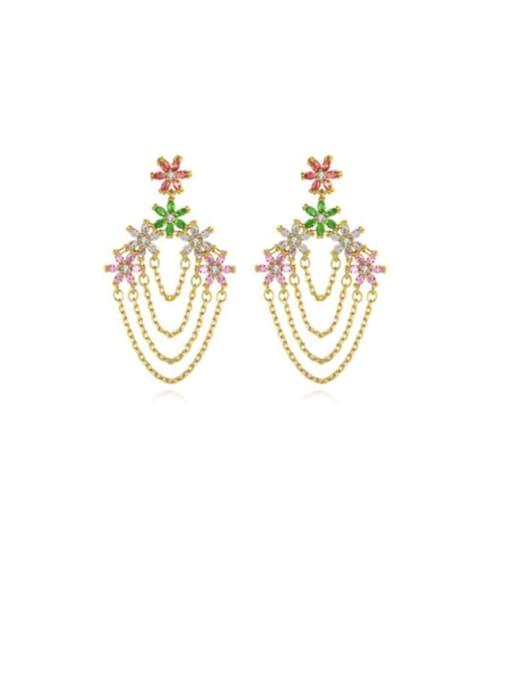 BLING SU Brass Cubic Zirconia Tassel Luxury Earring