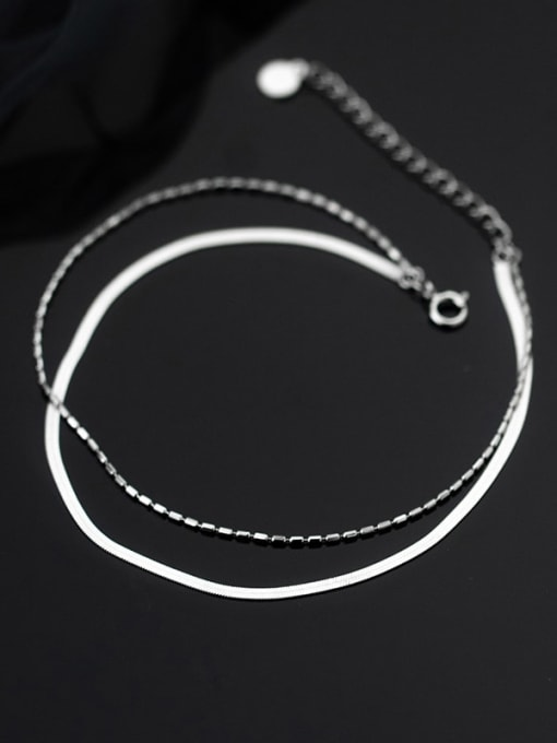 Rosh 925 Sterling Silver Geometric Minimalist Multi-layer  Anklet 2