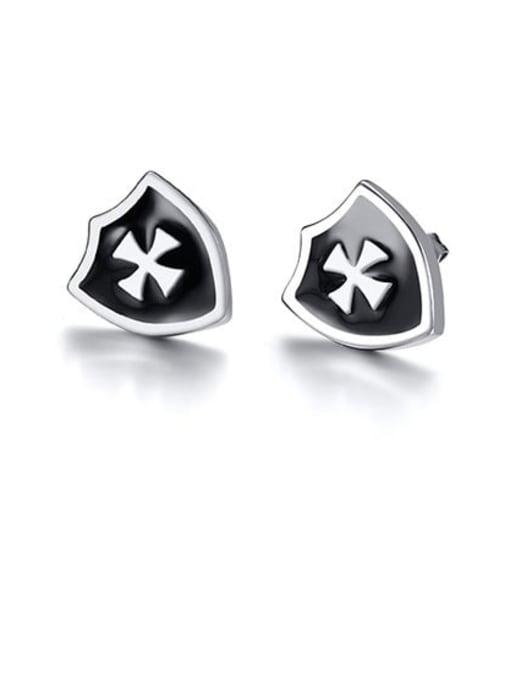 CONG Titanium Steel Enamel Cross Hip Hop Stud Earring 0