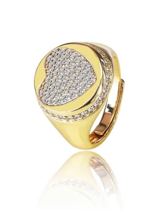DUDU Brass Cubic Zirconia Heart Vintage Band Ring 0
