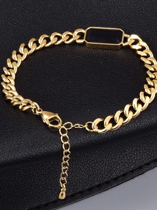 A TEEM Titanium Steel Glass Stone Geometric Vintage Bracelet 1
