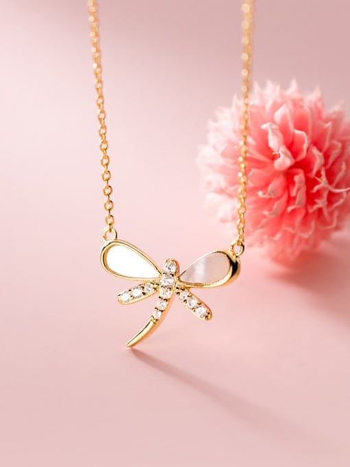 Rosh 925 Sterling Silver Shell Dragonfly Minimalist Necklace 1