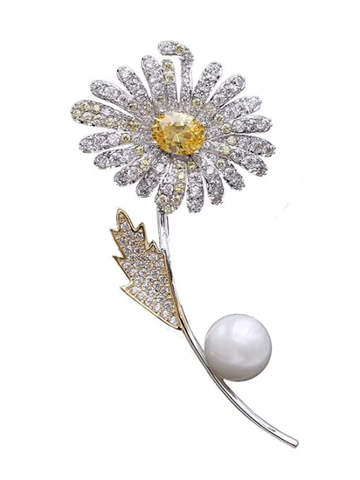 Luxu Brass Cubic Zirconia Flower Statement Brooch 1