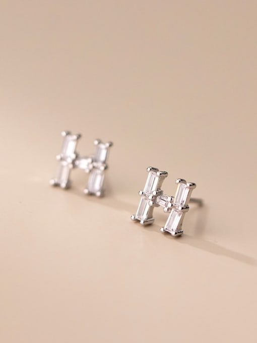 Rosh 925 Sterling Silver Cubic Zirconia Letter Minimalist Stud Earring 3