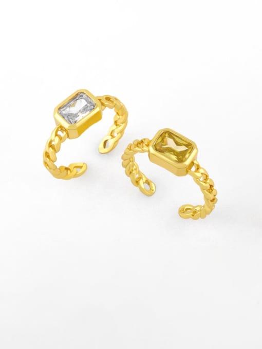 CC Brass Cubic Zirconia Geometric Vintage Band Ring